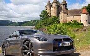 Picture sea, castle, Nissan, sea, grey, gtr, r35, black Edition