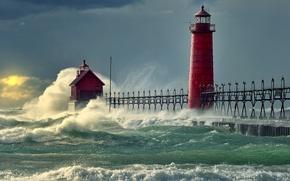 Wallpaper sea, wave, pier, nature, lighthouse, pierce