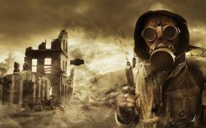 Picture the sky, gun, smoke, hood, gas mask, Stalker, ruins, rope