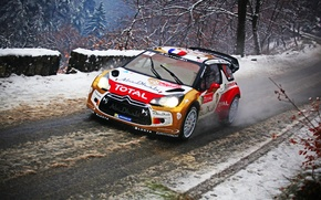 Picture Winter, Snow, Sport, Machine, Citroen, Citroen, DS3, WRC, Rally, Rally, Sebastien Loeb, Total