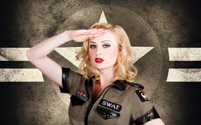Picture retro, background, model, hair, star, Girl, blonde, form, SWAT