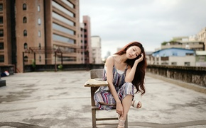 Picture girl, pose, chair