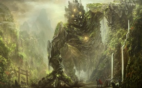 Wallpaper forest, mountains, fiction, rocks, trail, being, fantasy, art, monster, rider, the ravine, knight, traveler, hollow, ...