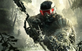 Picture trees, weapons, New York, bow, soldiers, devastation, arrow, leaves, nanosuit, Crytek, Crysis 3