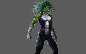 Picture white, purple, green, hair, costume, gloves, MARVEL, She-Hulk, She-hulk, Jennifer Walters, Jennifer Walters