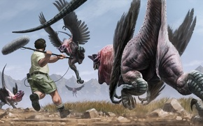 Picture stones, fiction, wings, headphones, art, dinosaurs, male, microphone, scaring