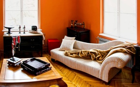 Picture orange, interior, fireplace, living room