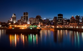 Picture city, the city, river, building, Canada, Montreal, Canada, river, midnight, buildings, midnight, Montreal
