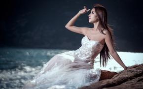 Wallpaper girl, the bride, white dress