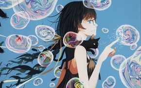 Picture girl, bubbles, Bakemonogatari, Hanekawa Tsubasa