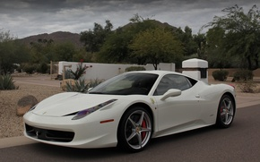 Picture the sky, trees, mountains, clouds, white, white, ferrari, Ferrari, Italy, mountains, 458 italia