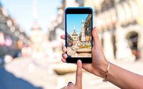 Wallpaper photography, blur, Switzerland, Switzerland, hi-tech, bokeh, old town, smartphone, smartphone, travel, Bern, Bern, wallpaper., technology, ...