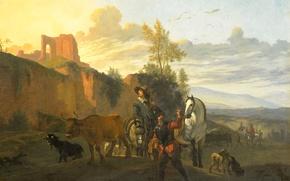 Picture picture, genre, Italian Landscape with Soldiers, Karel Dujardin