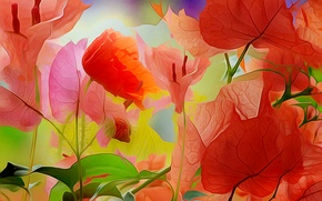 Picture leaves, line, flowers, nature, paint