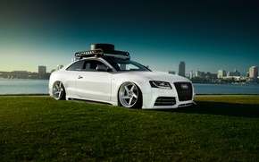 Wallpaper Audi, Car, Sky, Grass, RS5, White, Low, Stancenation