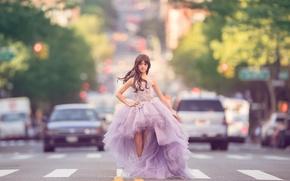 Wallpaper girl, road, dress