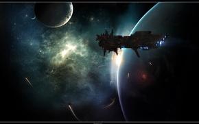 Wallpaper ship, planet, colonization