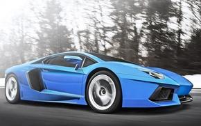 Picture Lamborghini, Speed, Blue, Speed, Supercar, LP700-4, Aventador, Supercar