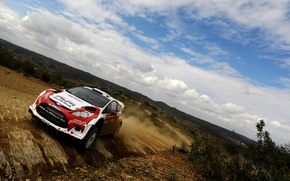 Picture Ford, The sky, Clouds, Sport, Turn, Russia, Car, WRC, Rally, Fiesta