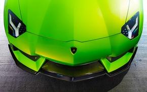 Wallpaper LP740-4, Lamborghini, Vorsteiner, Aventador, Green, Supercar, Aventador-V, Front