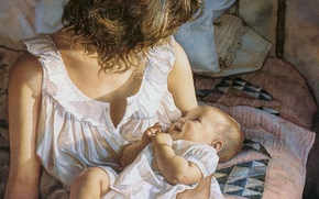 Picture tenderness, baby, mom