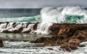 Picture SEA, The OCEAN, DROPS, ELEMENT, WAVE, SQUIRT, STORM, REEFS, ROCKS, PENA