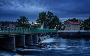 Picture bridge, nature, the city, river, the evening, twilight, nature, bridge, evening, town, River