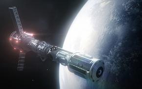 Picture space, ship, planet, art, orbit