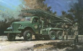 Picture machine, figure, art, combat, training, Soviet, WW2, period, Katyusha, night, volley., BM-13, jet, strokes, artillery
