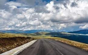 Picture road, clouds, hills