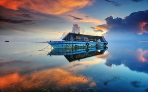 Picture sea, ship, morning