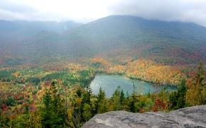 Wallpaper Adirondacks, New York, mountains, lake, haze, the sky, autumn, forest, USA