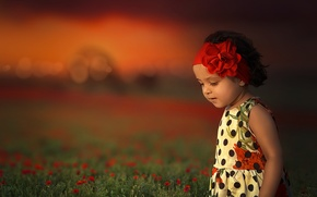 Wallpaper girl, headband, mood, flowers, meadow