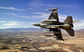 Picture fighter, generation, fourth, American, F-16, missiles, multipurpose, Fighting Falcon, the sky