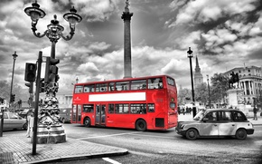 Picture road, night, city, the city, lights, lights, black and white, street, England, London, blur, bus, ...