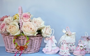 Picture flowers, basket, roses