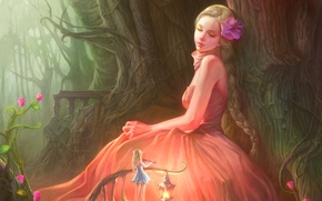 Picture forest, flowers, violin, Girl, dress, fairy, blonde, lantern