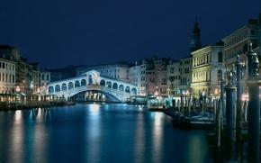 Picture landscape, night, bridge, blue, view, building, Italy, Venice, channel, architecture, Italy, beautiful, Venice