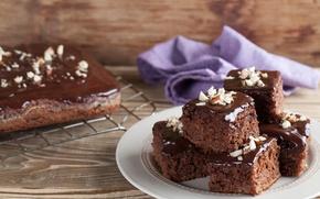 Wallpaper plate, nuts, dessert, cakes, cakes, sweet, napkin, glaze, chocolate, the pan