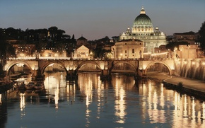 Wallpaper bridge, the city, lights, river, Rome, Italy, art, Rod Chase, St. Peter's Cathedral, The Tiber, ...