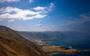 Picture sea, summer, the sky, clouds, hills, shore, pilot, solar, paraglider