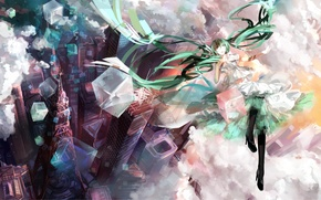 Picture girl, clouds, the city, tower, height, home, art, Hatsune Miku, Vocaloid, Vocaloid, h2so4kancel