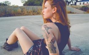 Picture girl, woman, model, tattoo, redhead, tattoos, Hattie Watson, female, sitting, earring, tats