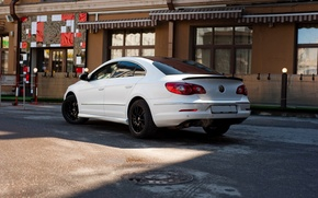 Picture White, Volkswagen, Street, The view from the Side, Passat