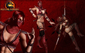Picture girl, swords, Mortal Kombat, katana, red hair, Skarlet
