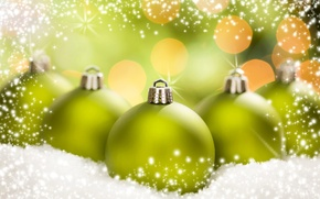 Picture winter, balls, snow, background, balls, toys, New Year, green, Christmas, Christmas, holidays, bokeh, New Year, …
