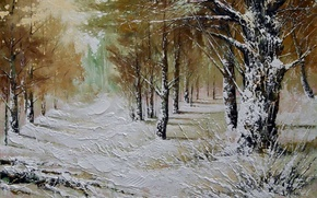 Picture winter, forest, snow, trees, landscape, picture, frost, the snow, painting, the bushes, Khodukov, spatula