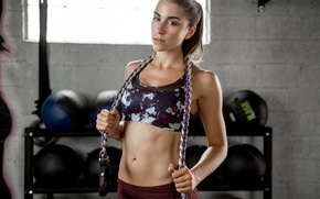 Wallpaper face, hair, rope, figure, hall, fitness, inventory, Dani, sports style