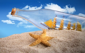 Picture sand, the sky, clouds, creative, ship, bottle, tube, sails, starfish