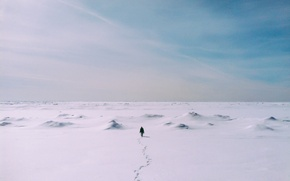 Picture winter, the sky, clouds, snow, people, trail, horizon, infinity